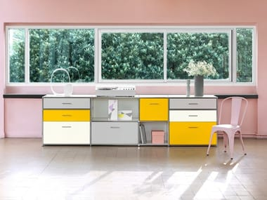 Low lacquered office storage unit with drawers LES COULEURS LE CORBUSIER | Office storage unit with drawers