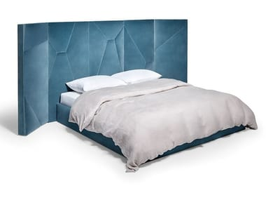 Velvet double bed with high headboard LET'S PLAY