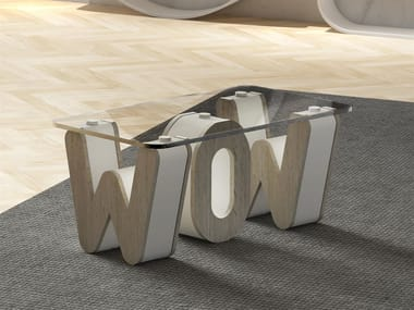 Rectangular wood and glass coffee table LETTERARIO | Coffee table