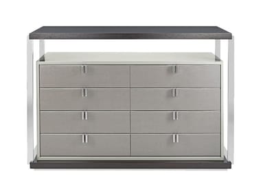 Lacquered stainless steel and wood chest of drawers LEXTON | Chest of drawers
