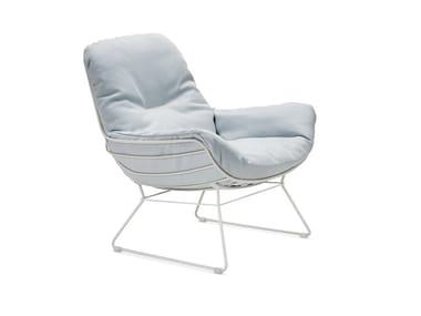 Sled base upholstered Sunbrella® garden armchair with armrests LEYASOL OUTDOOR LOUNGE