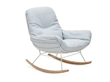 Rocking Sunbrella® garden armchair with armrests LEYASOL OUTDOOR ROCKING LOUNGE