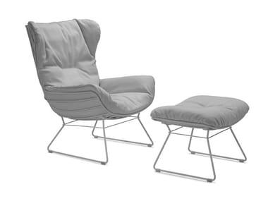 Sled base high-back Sunbrella® garden armchair LEYASOL OUTDOOR WINGBACK
