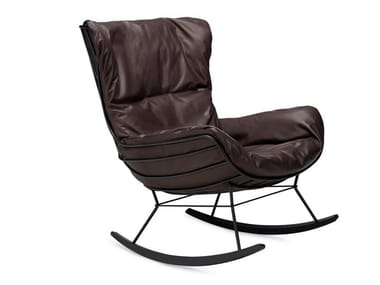 Rocking leather armchair with armrests LEYASOL | Rocking armchair