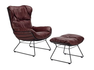 Sled base leather armchair with armrests LEYASOL | Sled base armchair