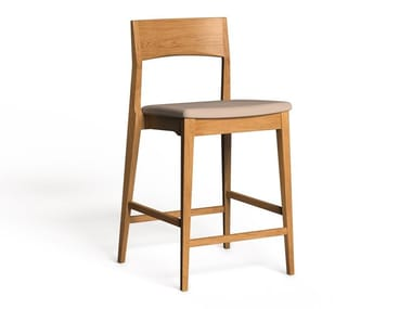 High wooden stool with integrated cushion LH-42B | Stool with integrated cushion
