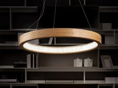 LED wooden pendant lamp LIBE ROUND S115