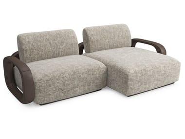 Divano componibile in tessuto con chaise longue LIBERTY | Divano con chaise longue