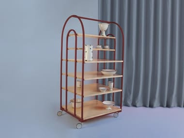 Open pine bookcase with casters ARCO | Bookcase with casters