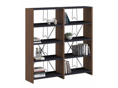 Wall-mounted freestanding melamine and metal bookcase LIBRO