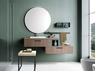 Single wall-mounted vanity unit with drawers LIGHT 08