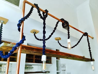 Handmade macramè pendant lamp LIGHTY NAVAL BLUE