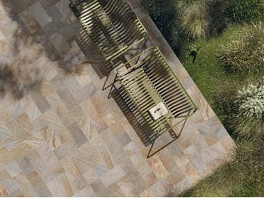 Indoor/outdoor porcelain stoneware flooring with stone effect LIMES QUARTZ MULTICOLOR