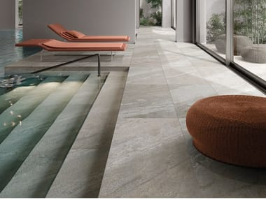 Indoor/outdoor porcelain stoneware flooring with stone effect LIMES QUARTZ WHITE