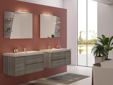 Wall-mounted vanity unit with doors with drawers LINE 04