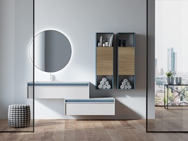 Wall-mounted HPL vanity unit with drawers LINE 2