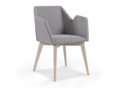Cadeira estofada de tecido com braços LINE MAPLE
