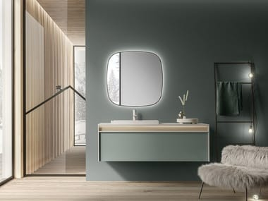 Wall-mounted HPL vanity unit with drawers LINE 4