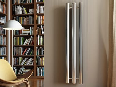 Vertical wall-mounted steel decorative radiator LINE