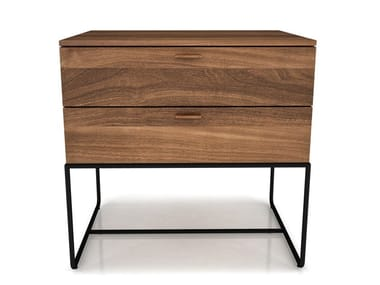 Rectangular steel and wood bedside table with drawers LINEA | Bedside table