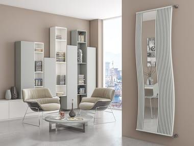 Vertical wall-mounted glass and steel decorative radiator LINEA DOPPIO RFX