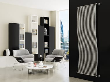 Vertical wall-mounted metal decorative radiator LINEA DOPPIO