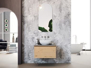 Wall-mounted oak vanity unit with drawers LINEA LN01