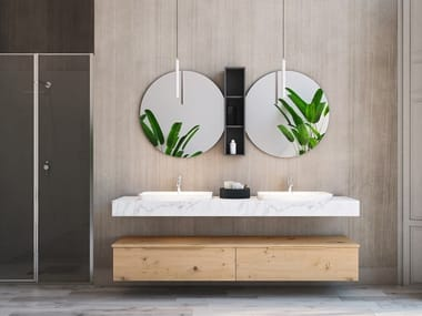 Double wall-mounted oak vanity unit with drawers LINEA LN15