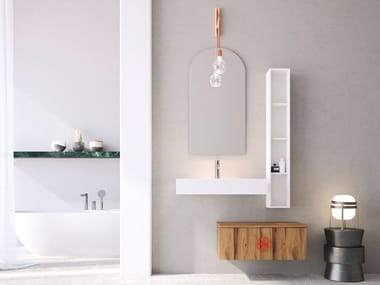 Single wall-mounted oak vanity unit with drawers LINEA LN22