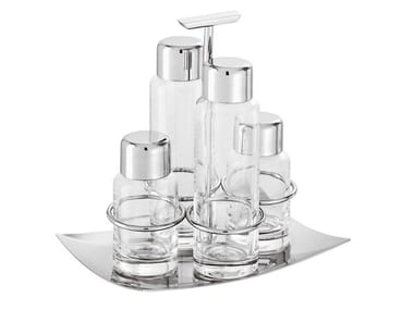 Glass and Stainless Steel salt and pepper shaker / oil vinegar set LINEA Q | Oil vinegar set