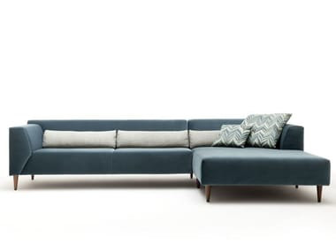 Sectional Fabric Sofa With Chaise Longue LINEA | Sofa With Chaise Longue