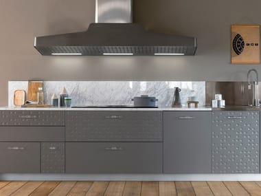 Linear London Gray mat lacquered fitted kitchen MESA | Linear kitchen