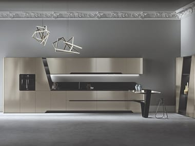 Fitted kitchen with peninsula VISION | Fitted kitchen