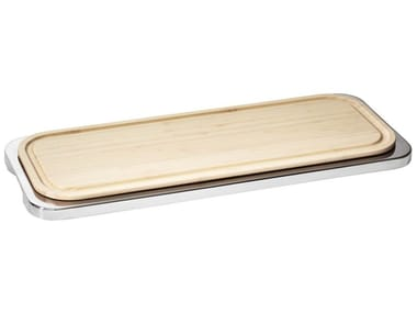 Rectangular stainless steel and wood chopping board LINEAR | Chopping board