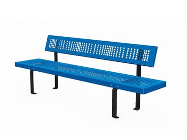 Metal Bench with back LINEASEDUTA LIGHT | Metal Bench