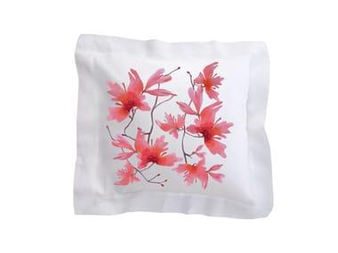 Cuscino quadrato in lino con motivi floreali PEACH BLOSSOM | Cuscino in lino