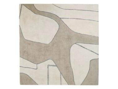 Patterned handmade wool rug LINES II – FLUIDE
