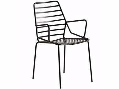 Painted metal garden chair with armrests LINK B