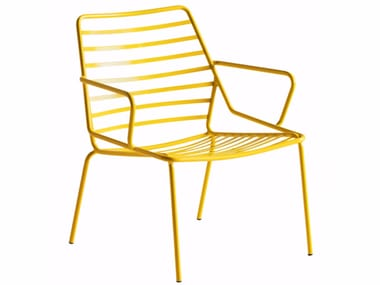 Garden painted metal easy chair with armrests LINK LOUNGE