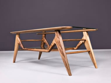 Low wood and glass coffee table with storage space LIPA | Coffee table