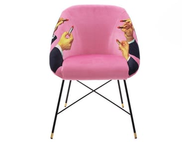 Upholstered fabric chair with armrests LIPSTICKS PINK | Chair