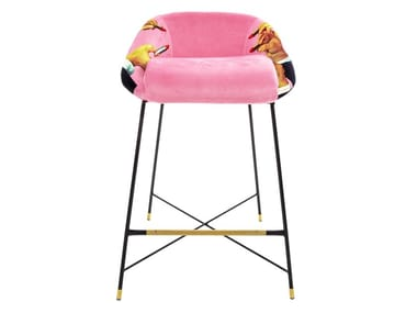 High fabric stool with back PINK LIPSTICKS | Stool