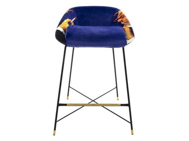 High fabric stool with back LIPSTICKS | Stool