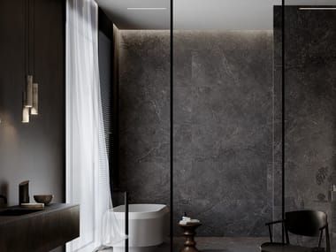 Porcelain stoneware wall/floor tiles with stone effect LITHOS CARBON