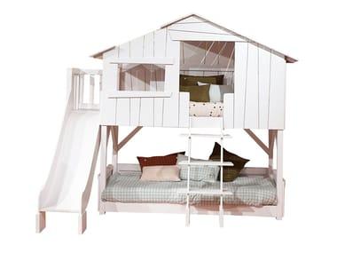 MDF Kids bunk bed with slide and platform LITS CABANES | Kids bunk bed