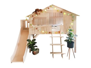 Loft linden bed with slide and platform LITS CABANES | Loft bed