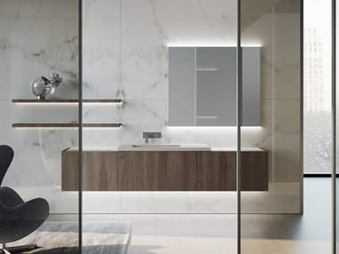 Wall-mounted HPL vanity unit with drawers LIVING 2