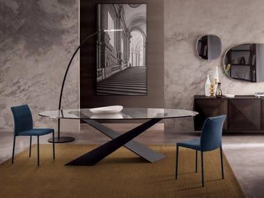 Tavolo ovale in cristallo e metallo verniciato LIVING - GRAFITE & CRISTALLO