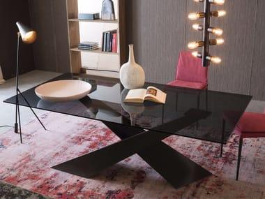 Tavolo rettangolare in cristallo e metallo verniciato LIVING - GRAFITE & CRISTALLO FUMÈ
