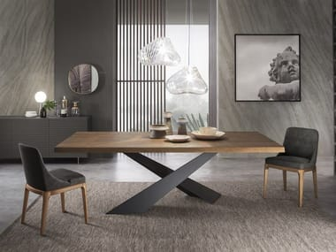 Rectangular wooden dining table LIVING - Graphite & Walnut